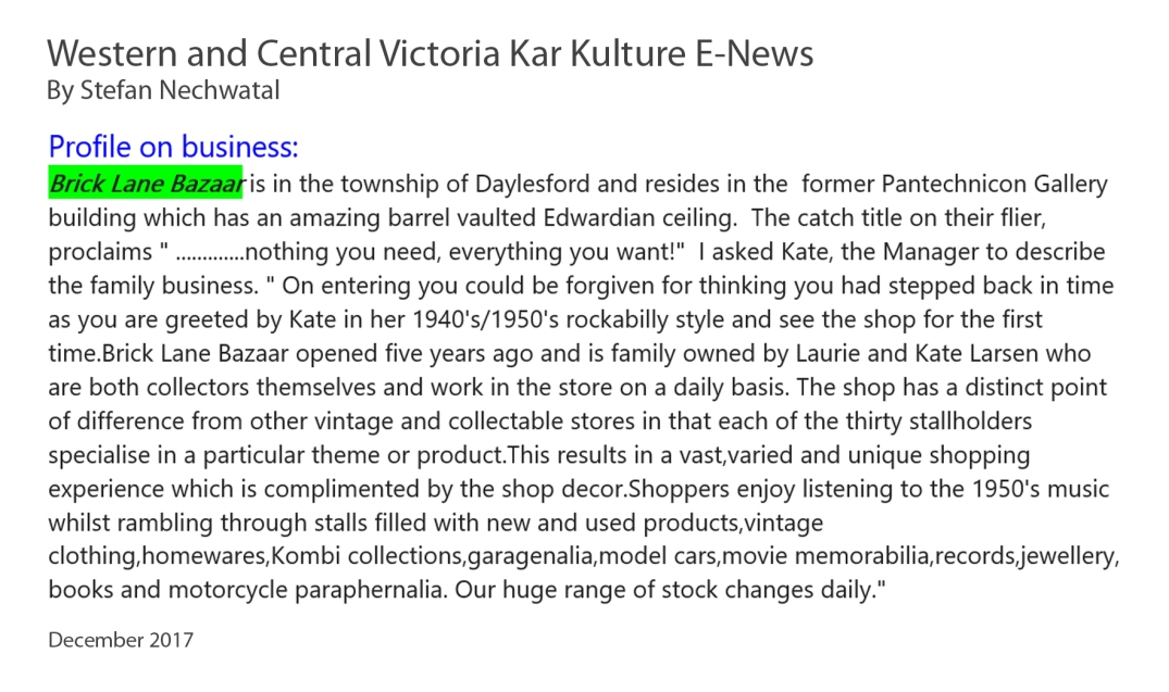 Western and Central Victoria Kar Kulture E-News